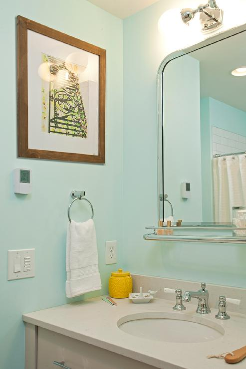 Gray And Turquoise Kids Bathroom