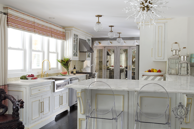 White Cabinets With Gold Leaf Trim Contemporary Kitchen