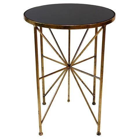 Kooba Geometrical Black Gold Wood Table