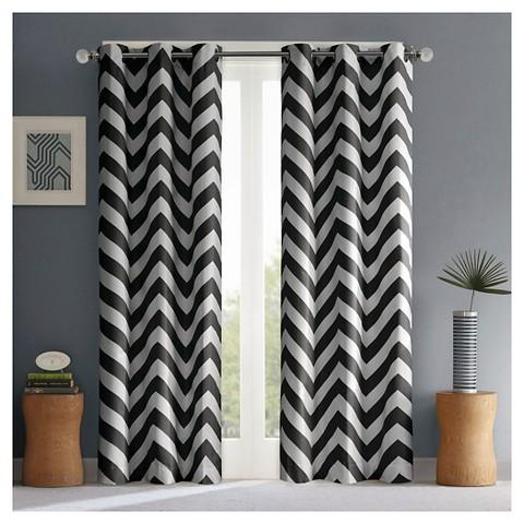 Leo Chevron Black and White Curtain Panel Pair - Chevron Black And White Curtain Panel Pair