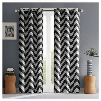 Black And Charcoal Curtains Orange Chevron Curtains