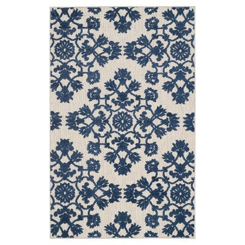 Safavieh haven blue and white area rug for Blue and white carpet