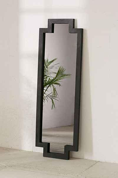 Floor length mirror image of white gold 30x70 leaner for Black framed floor mirror