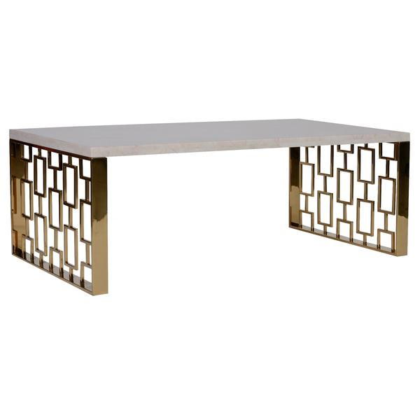 Brushed Gold White Marble Rectangular Coffee Table: Skyline Coffee Table With White Top And Gold Metal Base
