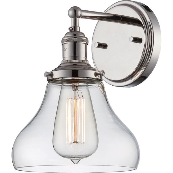 nuvo vintage 1 light silver wall sconce
