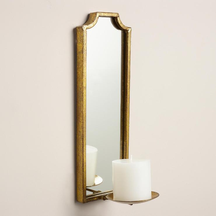 Antique Mirror Wall Sconces : Antique Gold Rectangular Emma Sconce