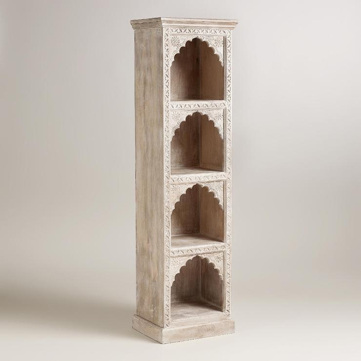 Ivory Hand Carved Wood Bookshelf