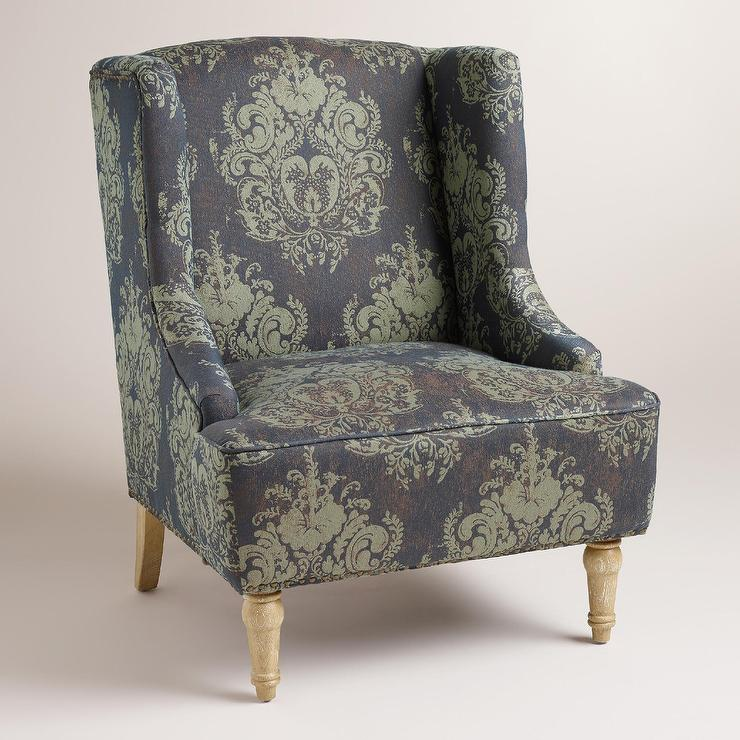 Jacquard Print Harlen Sea Foam Green Wingback Chair