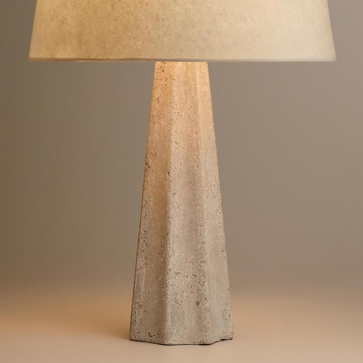 White Concrete Pillar Table Lamp Base