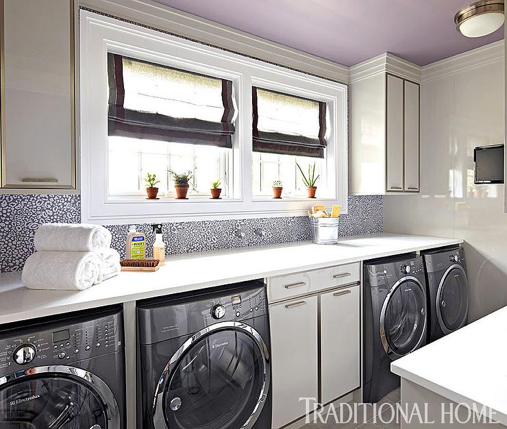Gray Lacquered Laundry Room Cabinets With Two Sets Of