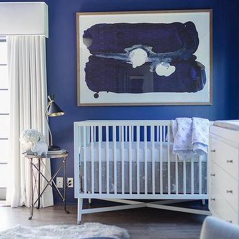 Blue Nursery With Cornice Box And Curtains Contemporary