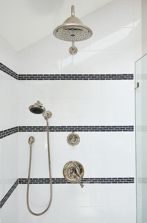 Shower With Black Border Tiles Transitional Bathroom