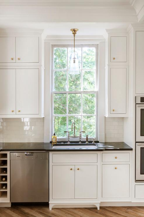 white inset kitchen cabinets with brass knobs - White Inset Kitchen Cabinets