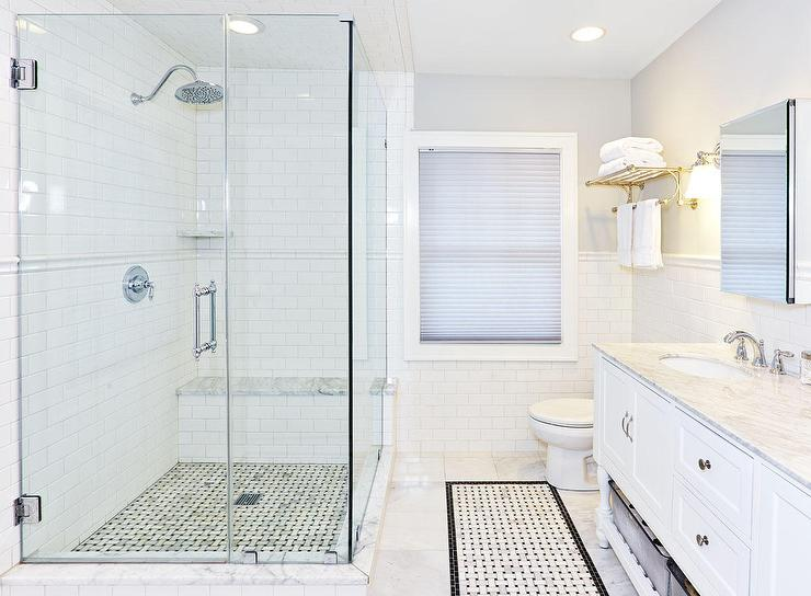 corner walk in shower with chair rail tiles - White Subway Tile Shower