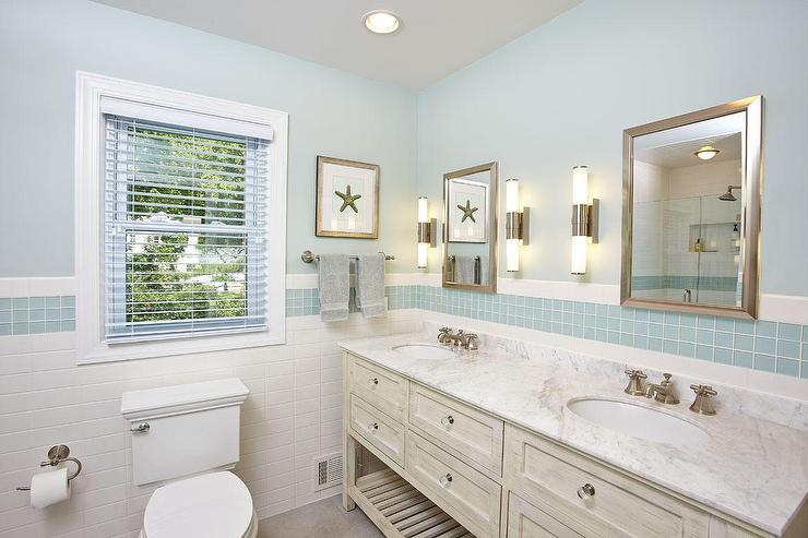 Interior Cottage Bathroom cottage bathroom with blue glass tiles tiles