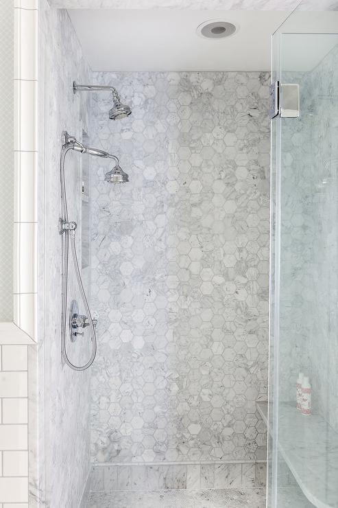 Marble Hex Shower Floor Design Ideas