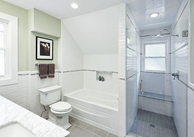 Drop In Tub Nook with Sloped Ceiling - Transitional - Bathroom Bathroom Shower Designs With A Sloped Ceiling on waterfall bathroom shower, sloped ceiling shower curtain, open bathroom shower, white bathroom shower, decorative bathroom shower, sloped ceiling shower head, vaulted ceiling bathroom shower, remodel bathroom shower, sloped ceiling bathroom ideas, corner bathroom shower, wood bathroom shower,