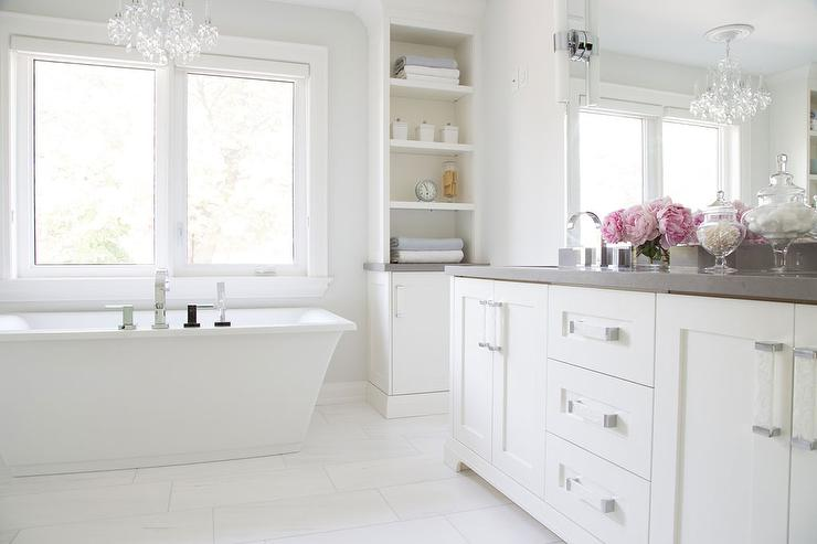 white bathroom cabinets with gray quartz countertops transitional