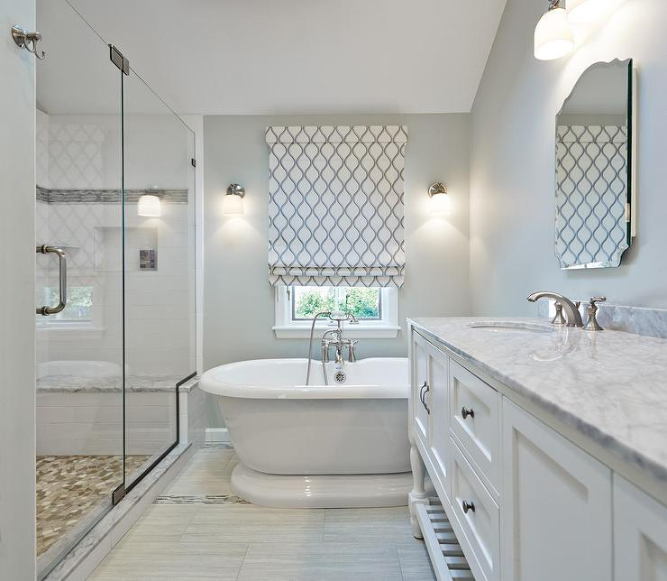 His and hers parisian pedestal sinks transitional bathroom White border tiles bathrooms