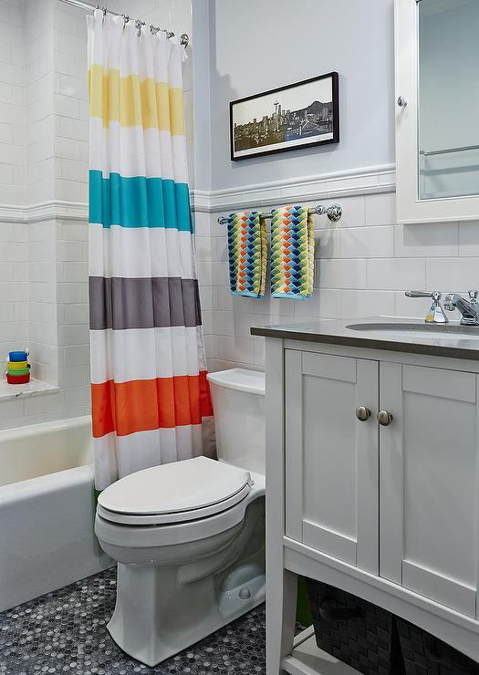 Great Kids Bathroom With Striped Shower Curtain