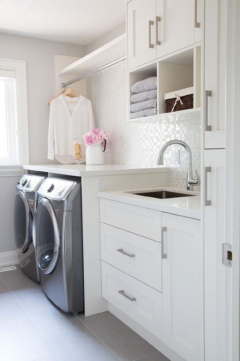 Laundry Room Sink Backsplash Ideas.Laundry Room With White Iridescent Tile Backsplash Transitional