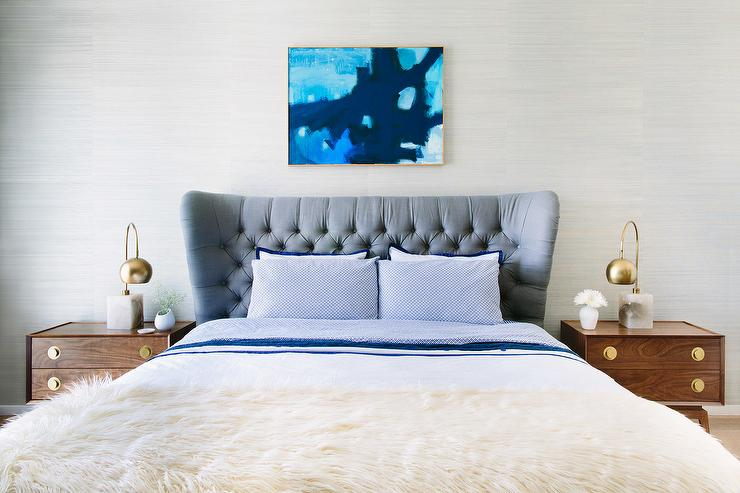 White Mid Century Modern Nightstand Part - 47: ... Grey Wingback Tufted Wingback Headboard On Bed Dressed In White And  Blue Border Bedding And A Sheepskin Throw Flanked By Mid Century Modern  Nightstands ...
