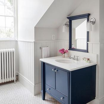 navy bathroom walls with white subway tiles - cottage