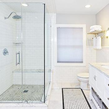 Corner Walk In Shower With Chair Rail Tiles