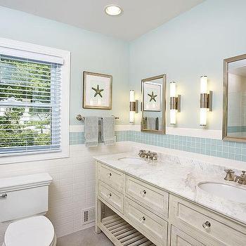 cottage bathroom with blue glass tiles - Cottage Bathroom