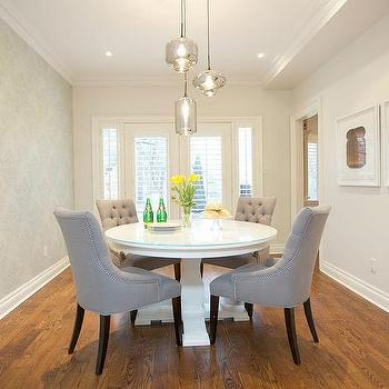Exceptional Dining Room With Wallpapered Accent Wall