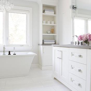 White Bathroom Cabinets With Gray Quartz Countertops