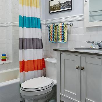 Kids Bathroom with Striped Shower Curtain