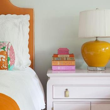 Orange Girls Bedroom Design. Gray Girl Bedroom with Pink and Orange Accents   Transitional