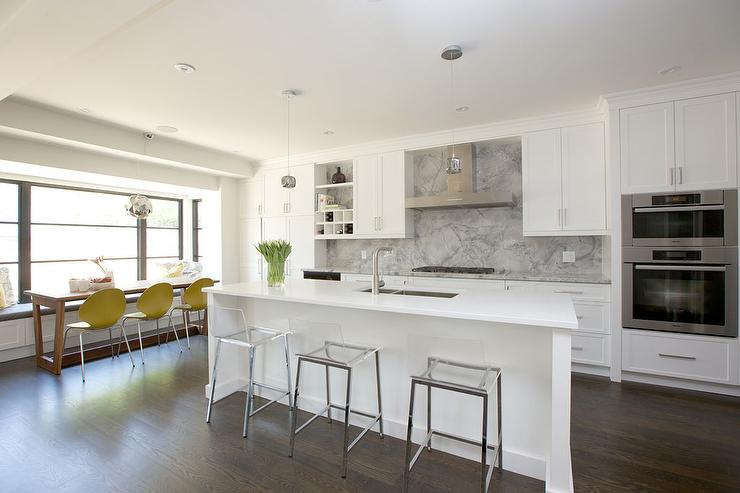 kitchen island with clear stools - Modern Kitchen White Cabinets