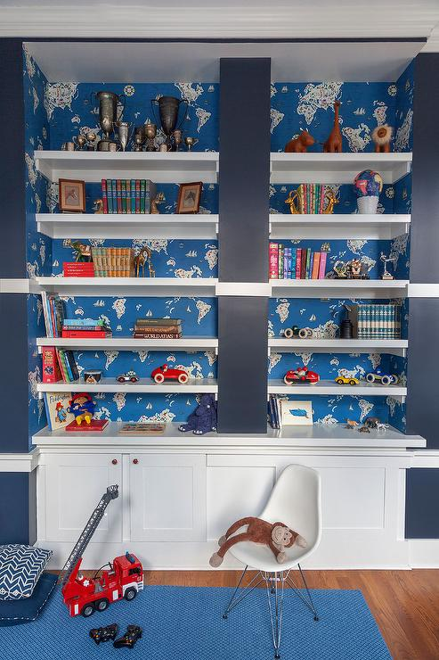 Fabric On Back Of Bookcase Transitional Boy 39 S Room