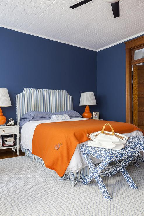 blue and orange bedroom design transitional bedroom