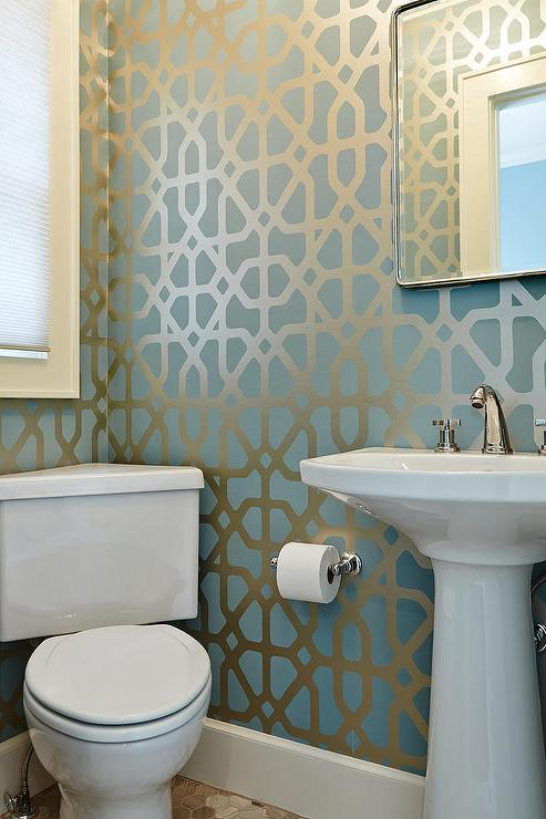 Powder room with blue and gold trellis wallpaper for Modern bathroom wallpaper