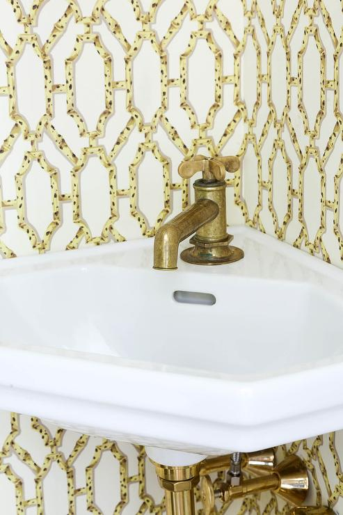 Powder Room With Corner Wall Mount Sink