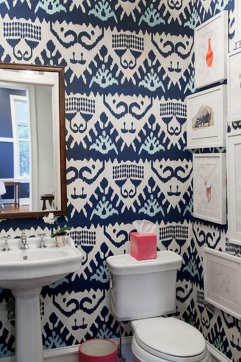 Powder Room With Navy Ikat Wallpaper Contemporary Bathroom