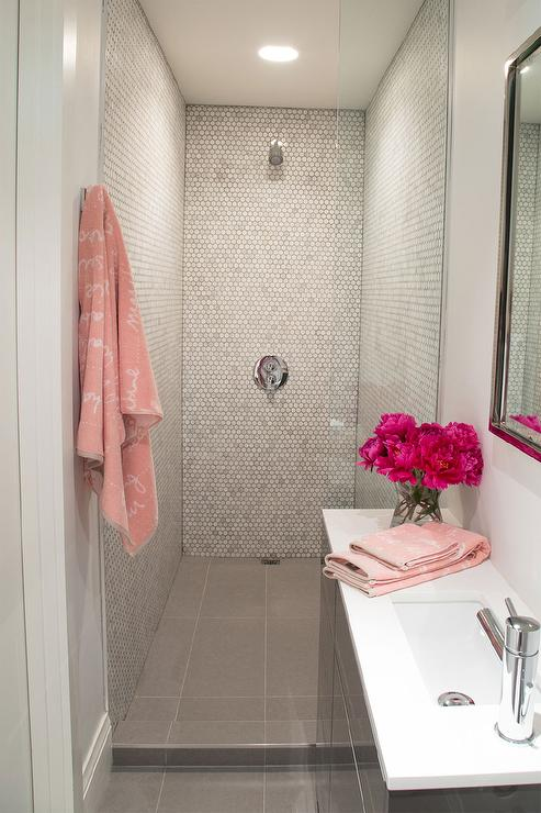 Pink and gray small bathroom design contemporary bathroom for Grey and white bathroom accessories