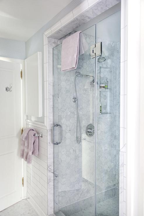 Walk In Shower With Marble Hex Tile Surround