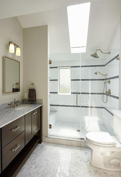 Walk In Shower With Sloped Ceiling Skylight Transitional
