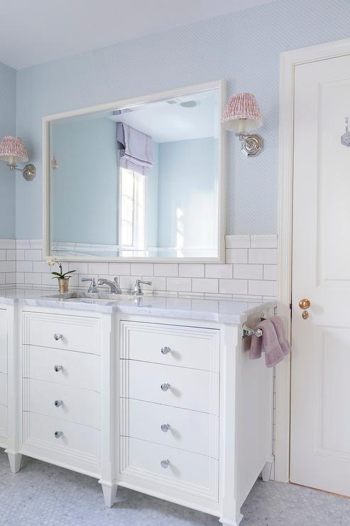 White and blue kids bathroom with lilac accents for Tiles for kids bathroom