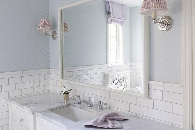 White And Blue Girlsu0027 Bathroom Features Blue Lattice Wallpaper On Upper  Walls And White Subway Tiles On Lower Walls Lined With A Dresser Like  Vanity Topped ...