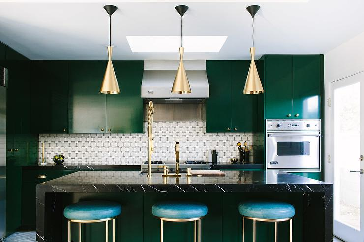 Emerald Green And Black Kitchen Design Contemporary Kitchen - Green kitchen cabinets with black countertops