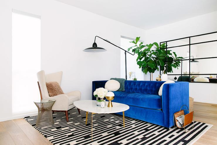 Cobalt Blue Velvet Tufted Sofa Design Ideas