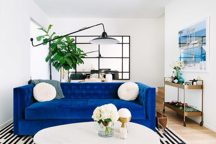 Cobalt Blue Velvet Tufted Sofa Contemporary Living Room