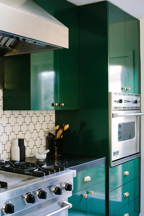 Painted Green Contemporary Kitchen Cabinets