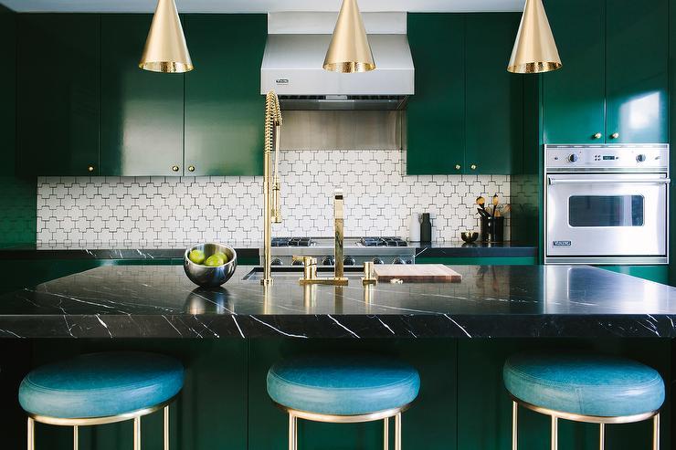 Emerald Green Kitchen Cabinets Contemporary Kitchen