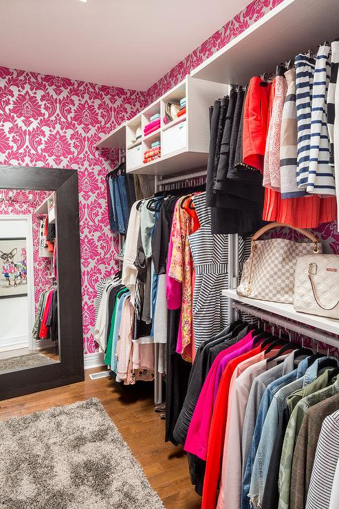 Completely new Walk In Closet with Pink Damask Wallpaper - Contemporary - Closet FF88